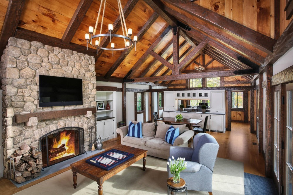 Nice living room wooden design in the spacious first floor of the house