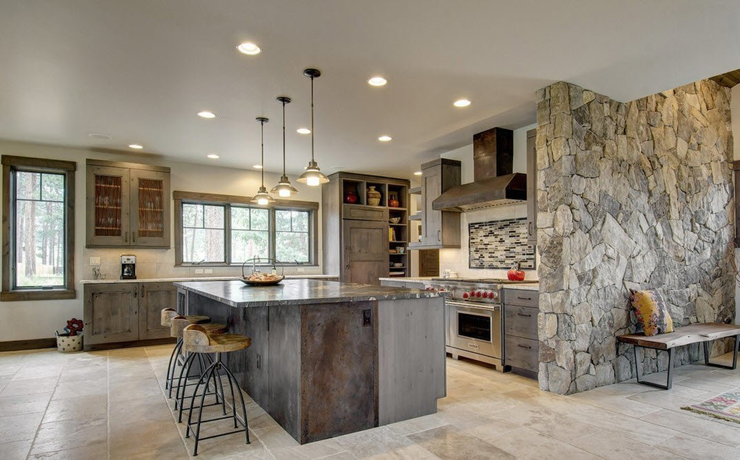 Grayish hue for the stone trimmed country kitchen