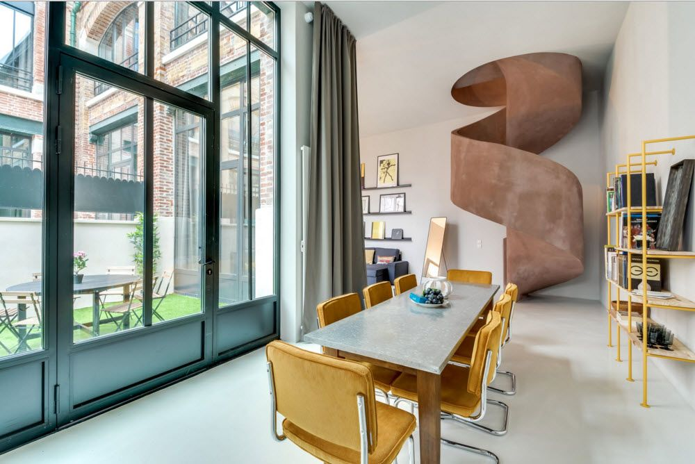 Original Industrial Apartment Design Project. Urban style of the premise echies with monumentalism
