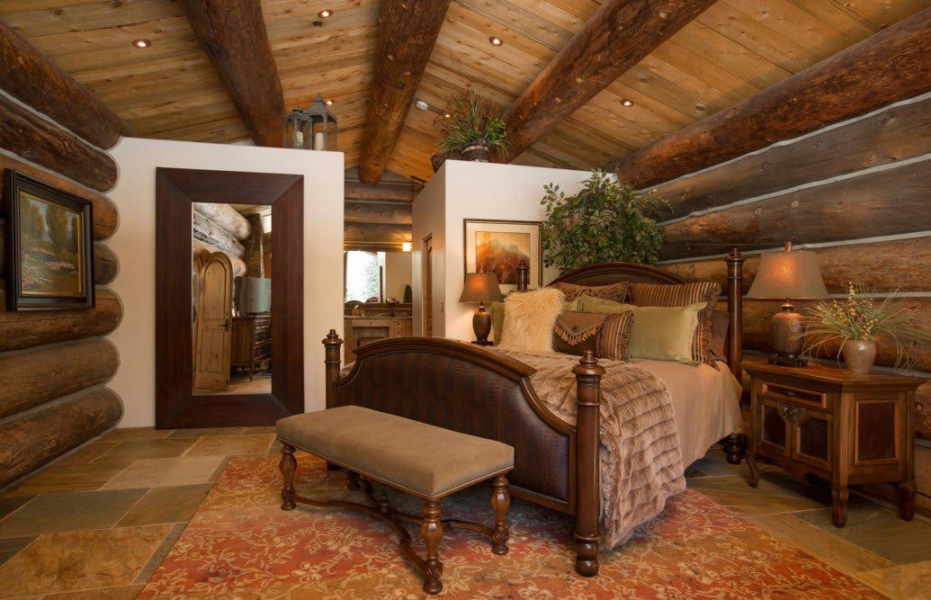 Top Ceiling Beams Design Photo Ideas. Non-linear bed location in the wooden trimmed bedroom