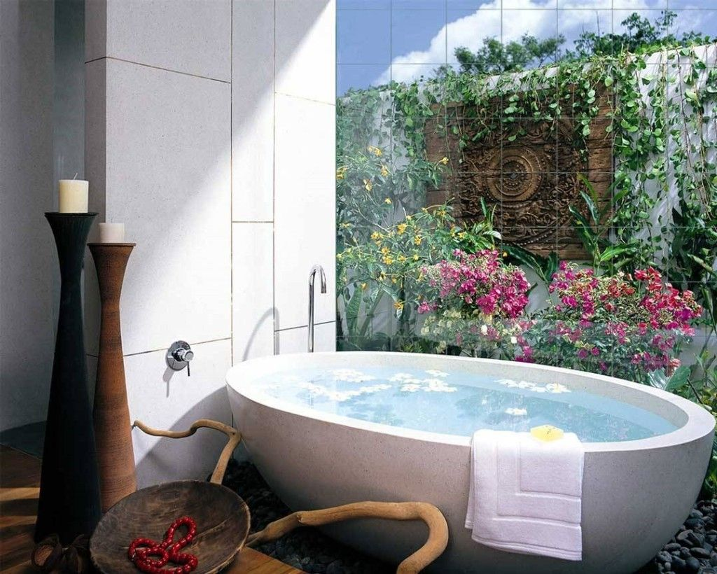 Photo Tile Types and Differences. Flowers and plants right near the bathtub