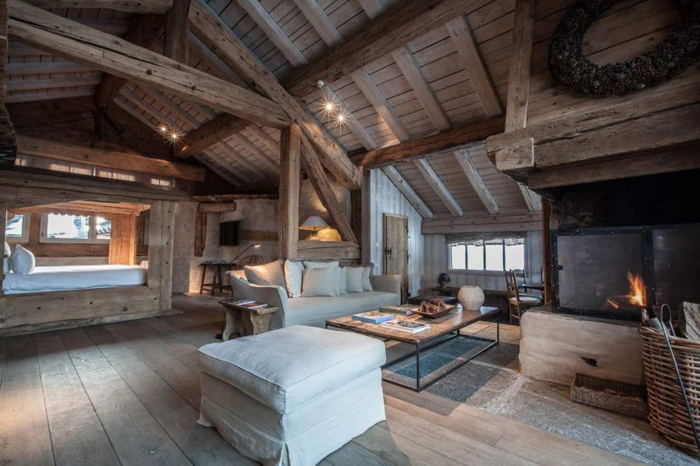 Sloped wooden ceiling in the one storey cottage