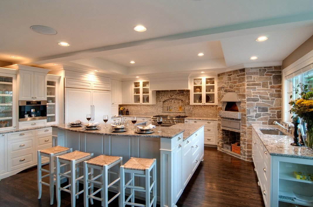 Stone Kitchen Interior Decoration Ideas. White Provence In The Modern Space