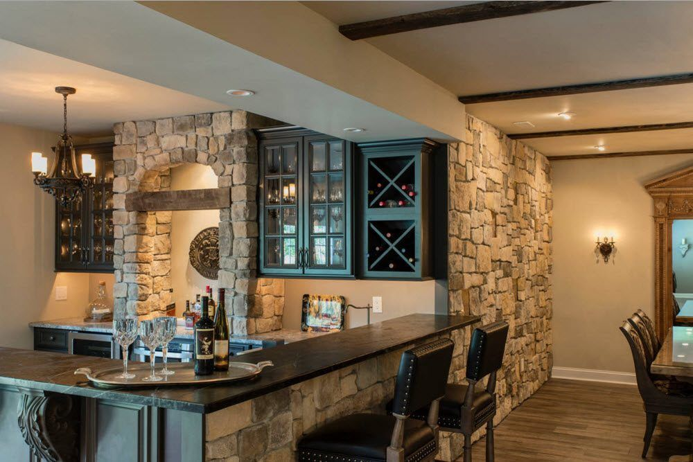 Top Ceiling Beams Design Photo Ideas. Stone and timber trimming for the kitchen with bar countertop