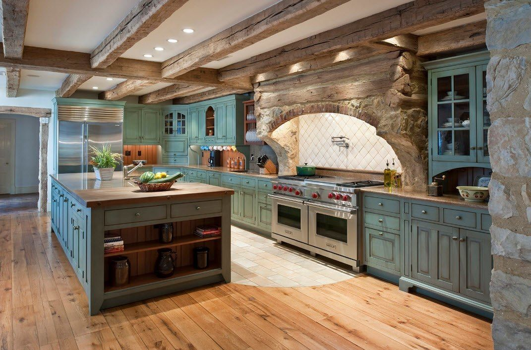 Stone Kitchen Interior Decoration Ideas. Wooden floor and ceiling trimming along with crude stone at the splashback area