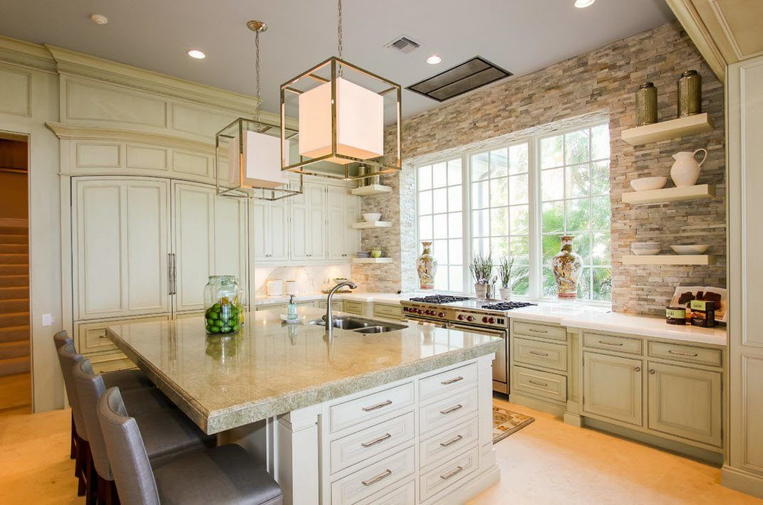 Stone Kitchen Interior Decoration Ideas. Nice Fresh Design Of The Cooking  Area
