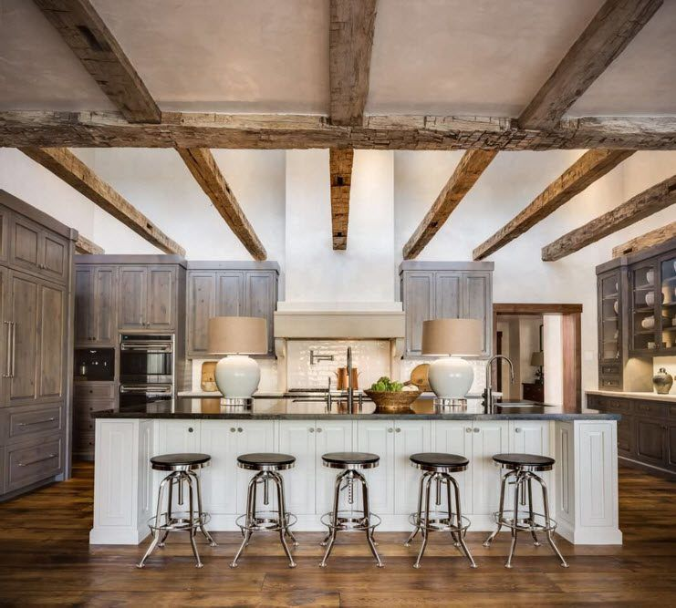 Top Ceiling Beams Design Photo Ideas. Large kitchen with countertop and bat stools looks impressive along with white trimmed ceiling with logs