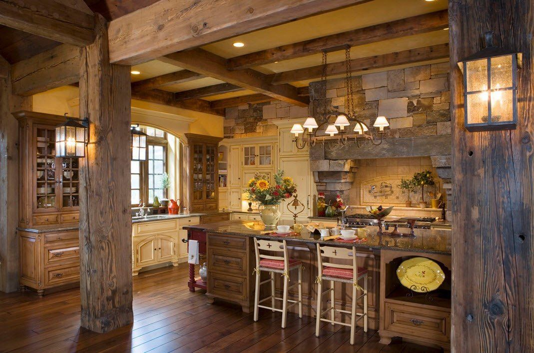 Stone Kitchen Interior Decoration Ideas. Timber and rock alloy within spacious room