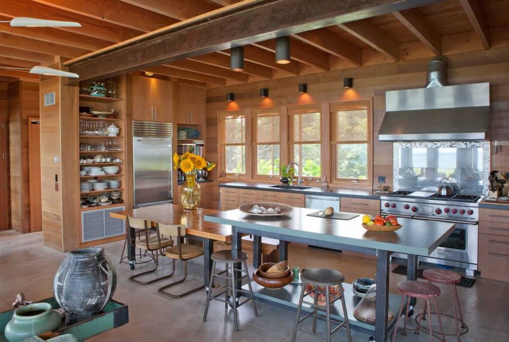Top Ceiling Beams Design Photo Ideas. Light timber trim in the spacious  light kitchen