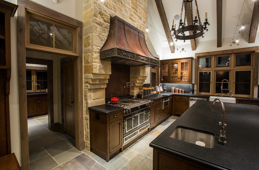 Stone Kitchen Interior Decoration Ideas. French Provence in the classic styled premise