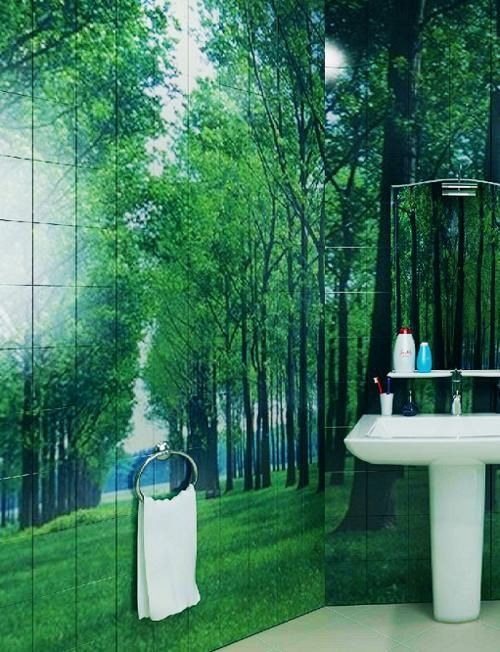 Photo Tile Types and Differences. A green forest in the bath