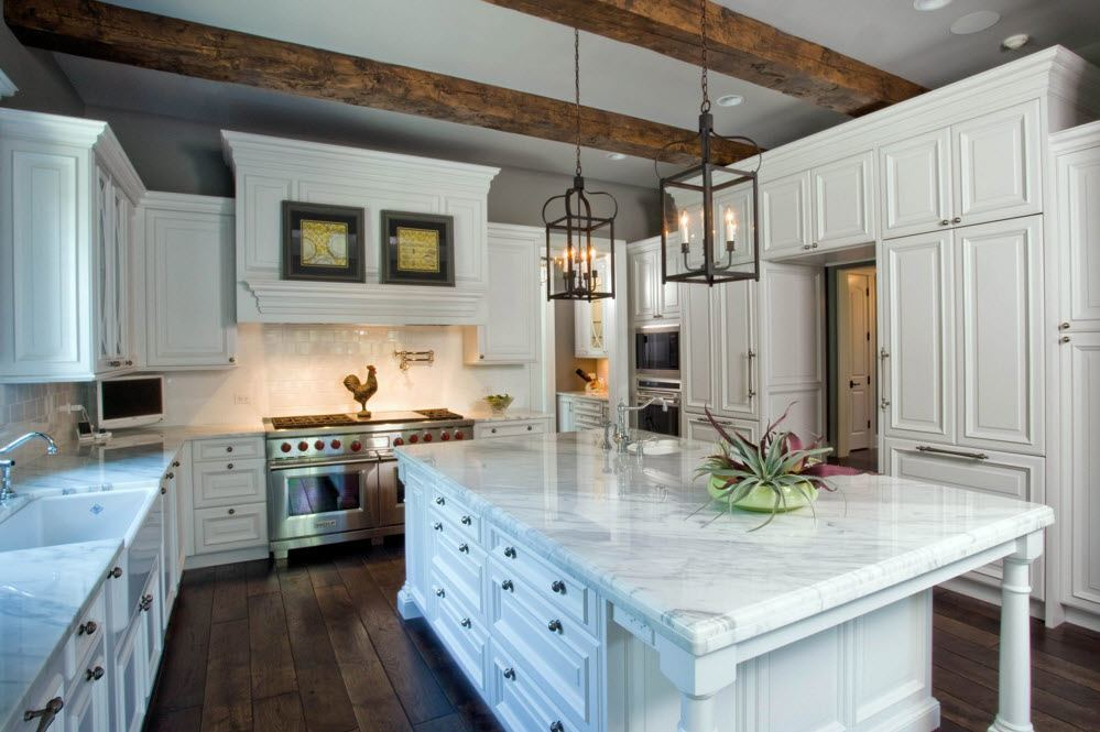 Top Ceiling Beams Design Photo Ideas. Original boxes for candlesticks and wooden trim of the kitchen