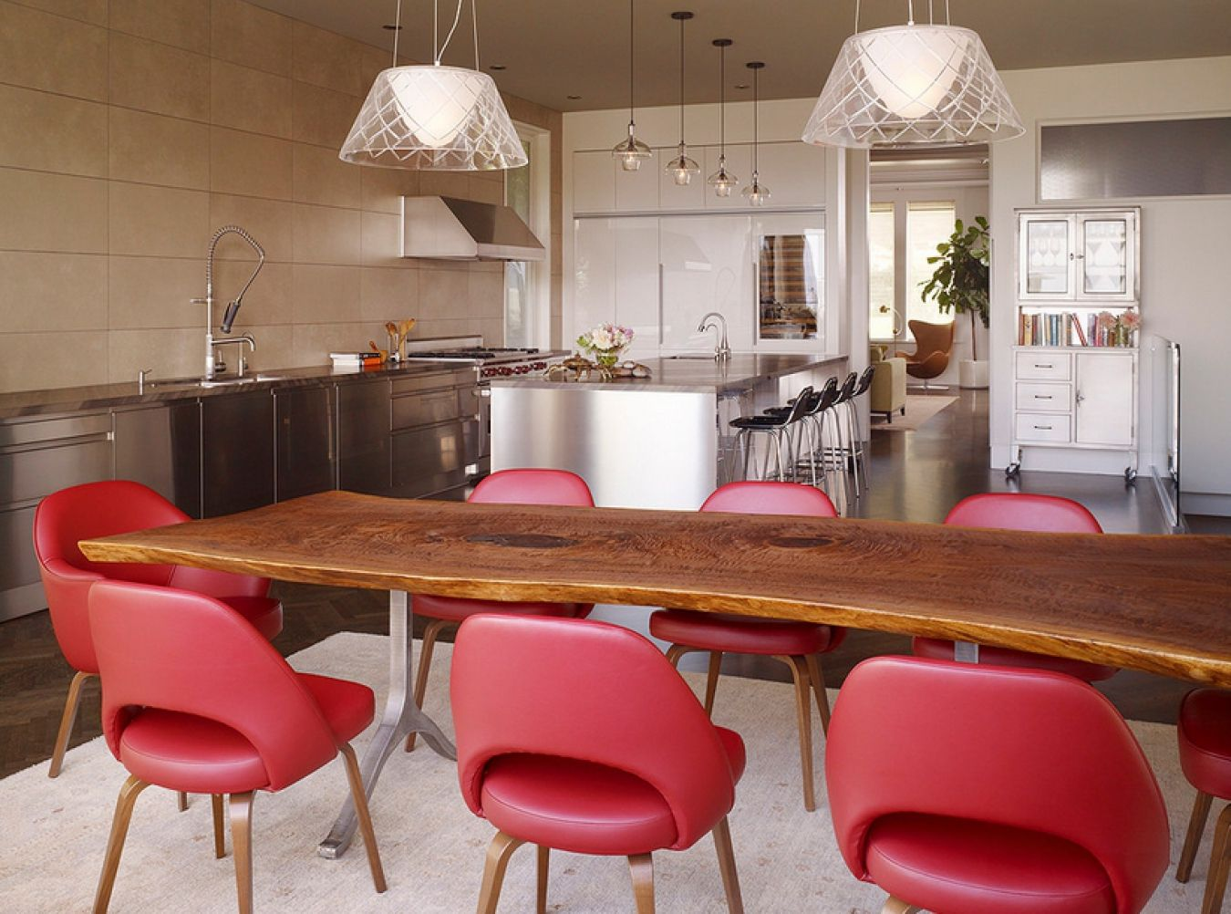 100 Kitchen Chairs Design Ideas. Red soft leather seats