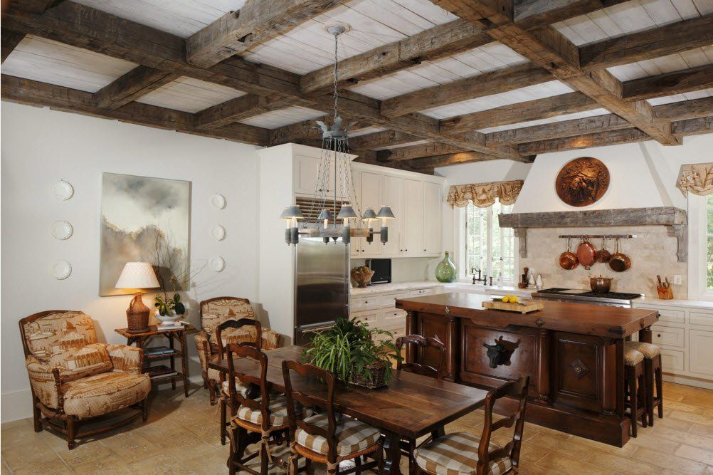 Top Ceiling Beams Design Photo Ideas.  Wooden lattice on the top of the rural styled kitchen
