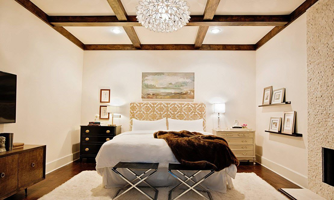 Top Ceiling Beams Design Photo Ideas. Cozy light bedroom design with two bedside cots