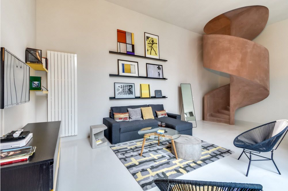 Original Industrial Apartment Design Project. Warm colors of the stuff in the living room