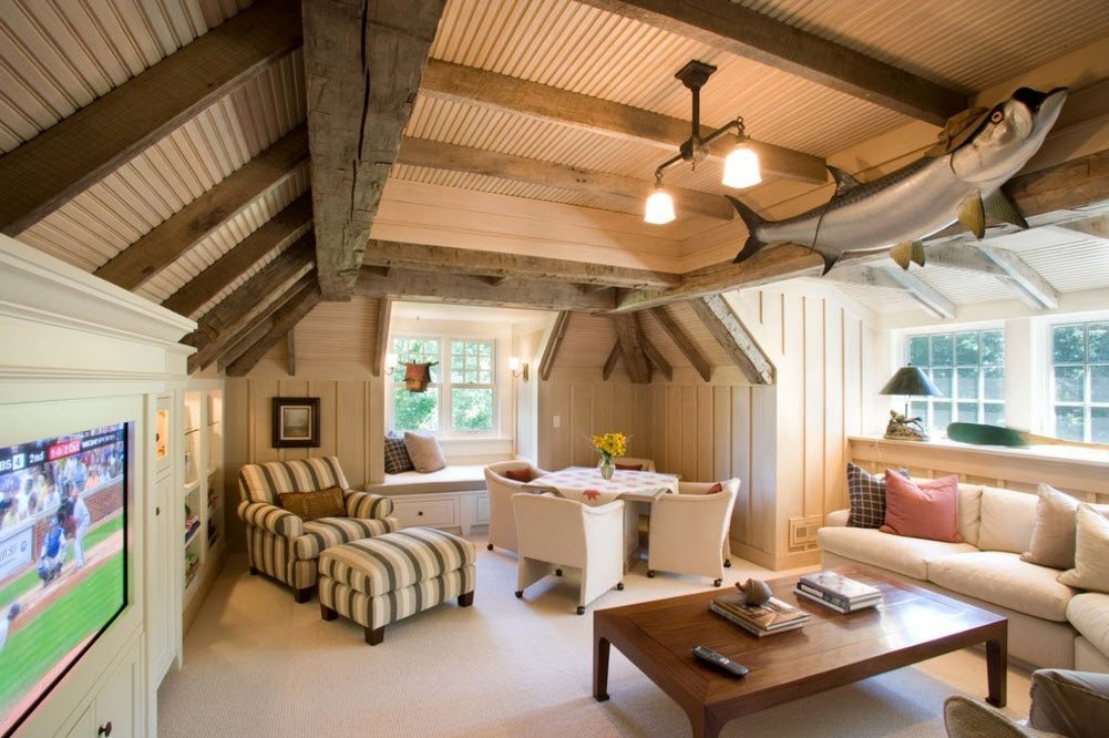 Absolutely unique ceiling construction of dark logs in the village cottage