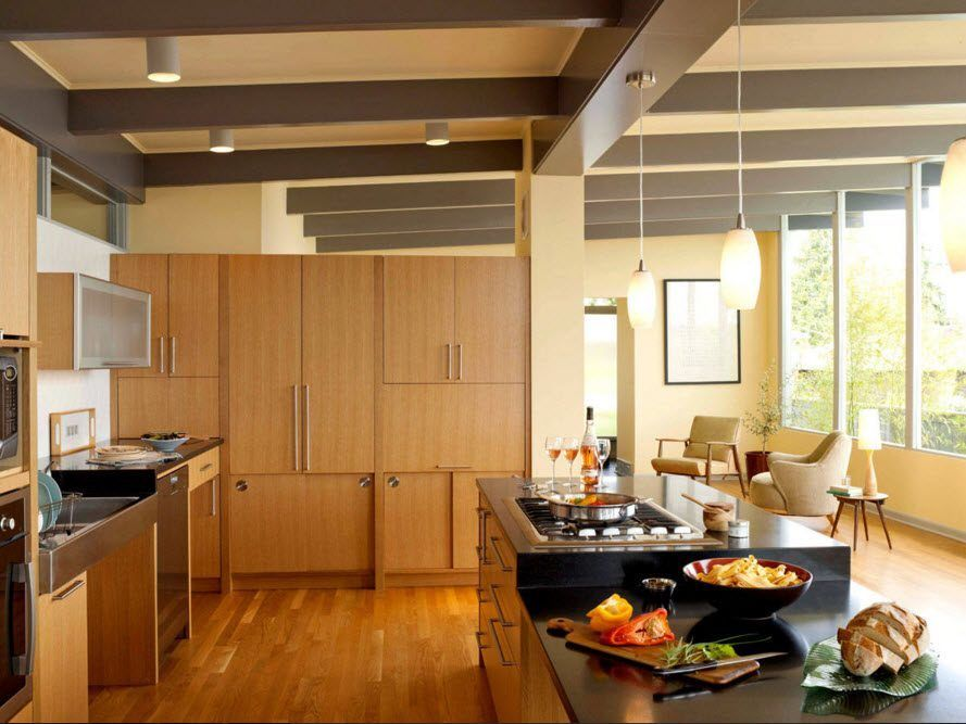 Top Ceiling Beams Design Photo Ideas. Regular furniture looks nice in the modern kitchen