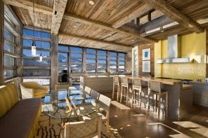 Alpine located ranch house interior full of natural wooden