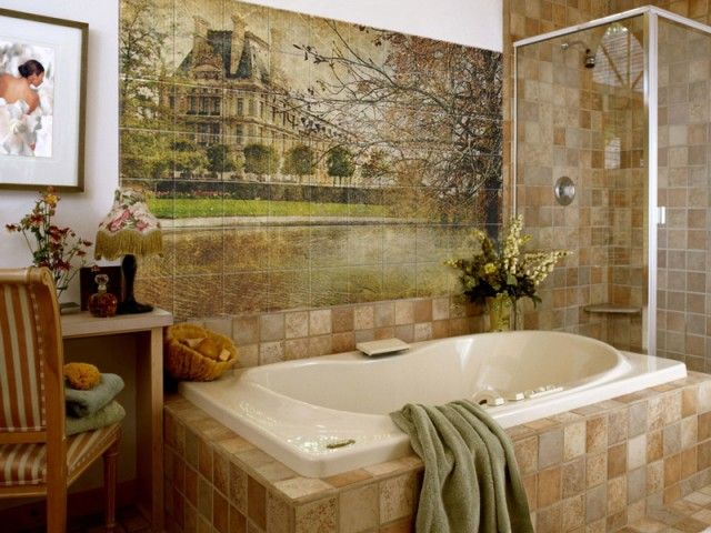 Photo Tile Types and Differences. Oriental theme of bathroom decoration