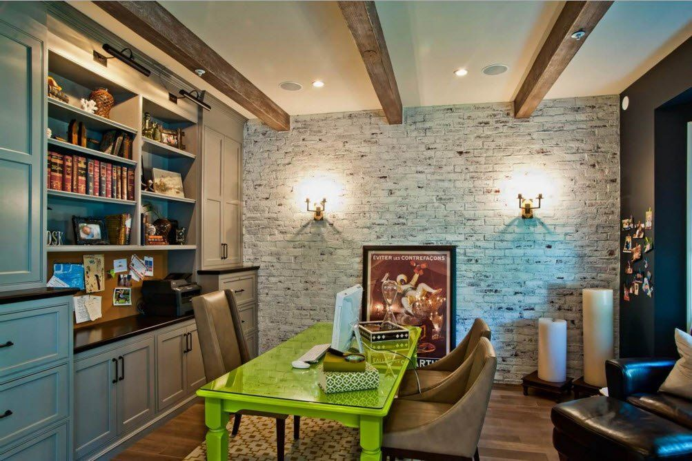 Stone trimmed  accent wall in the country styled dining room