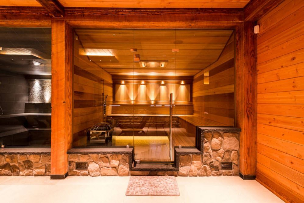 Steam room in the wooden private house