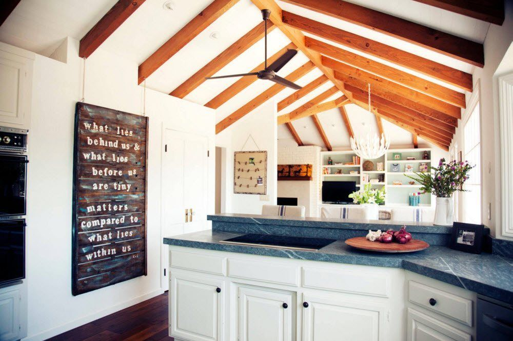 Top Ceiling Beams Design Photo Ideas. Both side cloped top of the modern kitchen