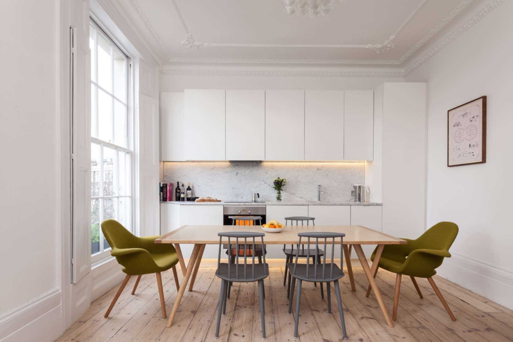 100 Kitchen Chairs Design Ideas. Neat white facades of the furniture