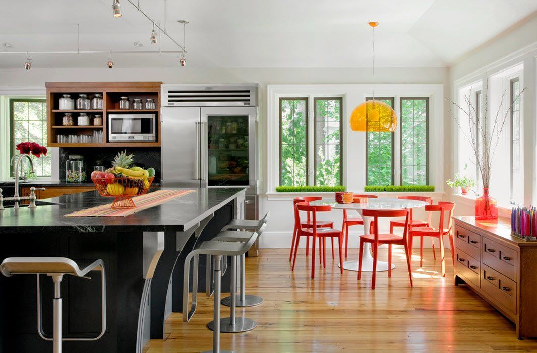 100 Kitchen Chairs Design Ideas. Combinated furniture in the spacious contemporary styled area