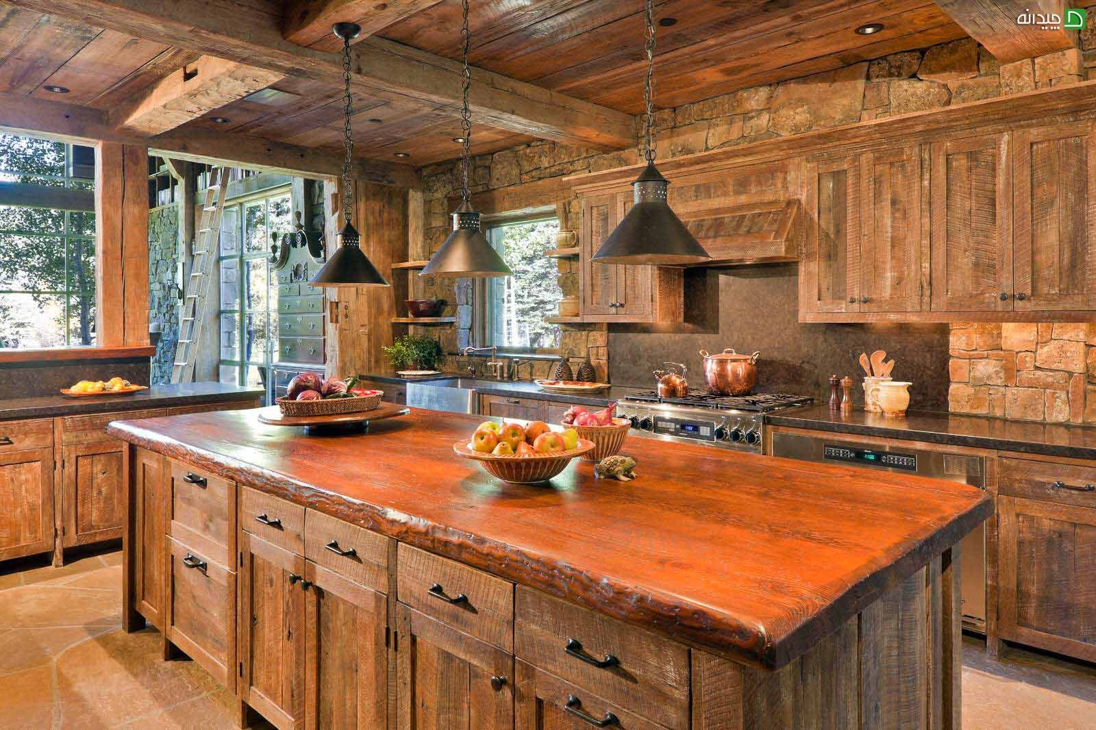 Nice reddish tone in the color palette of the rustic kitchen decoration