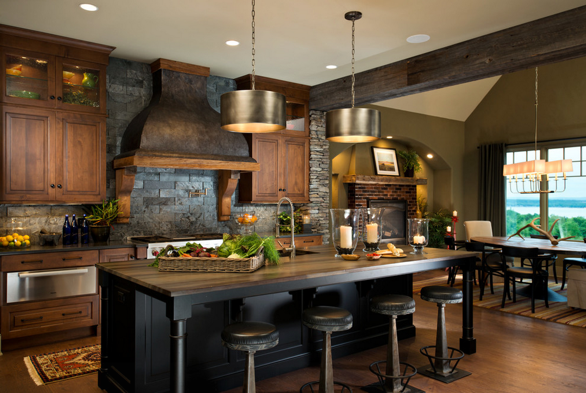 Dark design for the spacious kitchen with Provence design of the extractor hood