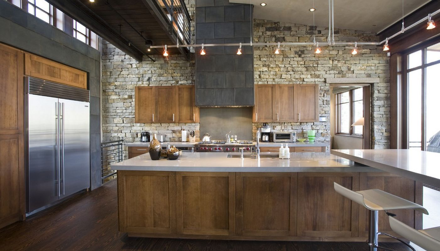 Unique rack hanging lamps in the wood and stone combined Greek styled country kitchen