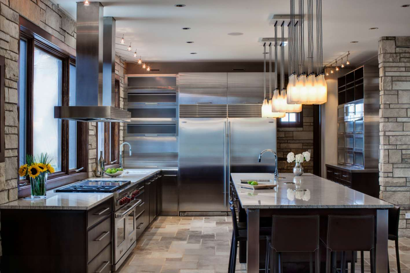 Modern interior decoration in the stone faced kitchen area