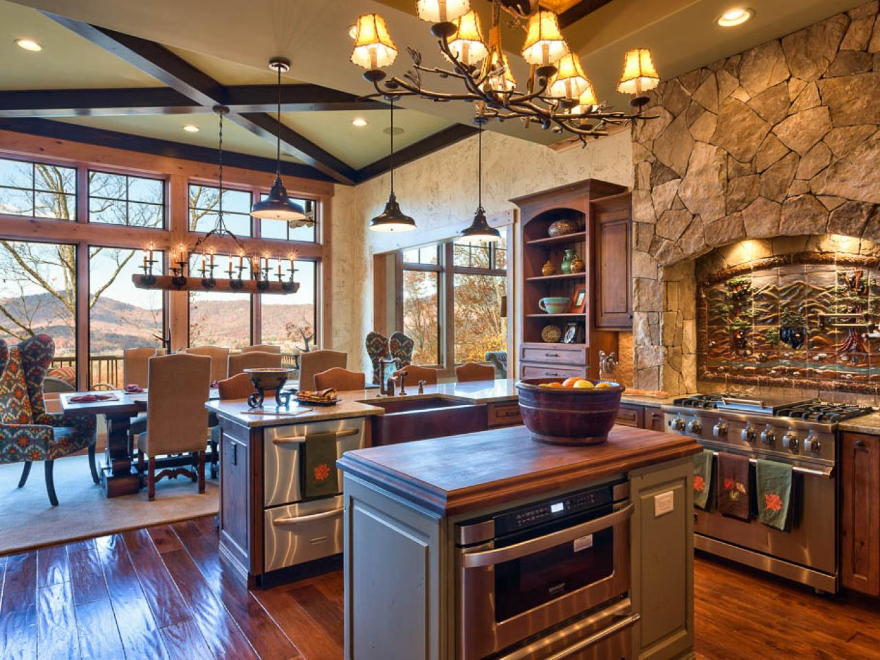 Stone Kitchen Interior Decoration Ideas. Laquered wooden floor and the gray walls combination looks organic