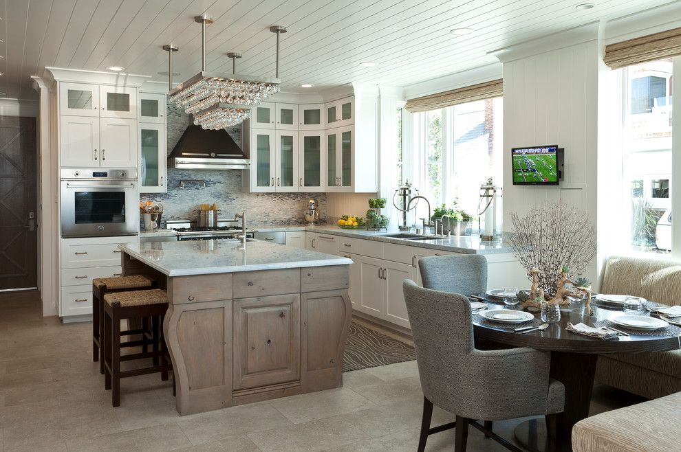 100 Kitchen Chairs Design Ideas. Unusual crystal pendant chandelier above the island