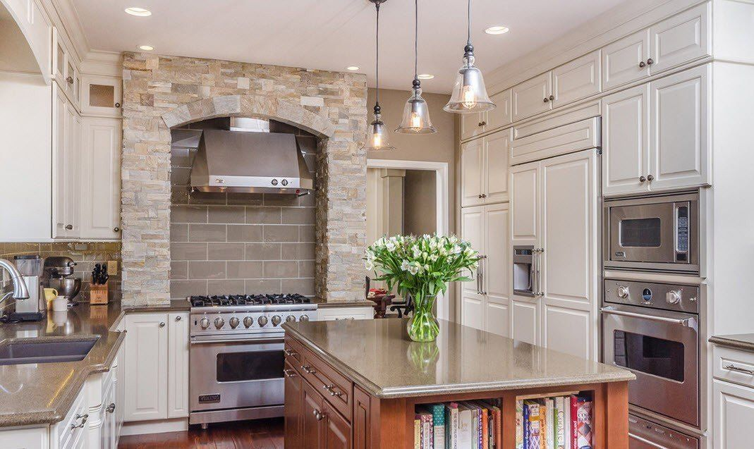 Stone Kitchen Interior Decoration Ideas. White pastel color palette for the country design