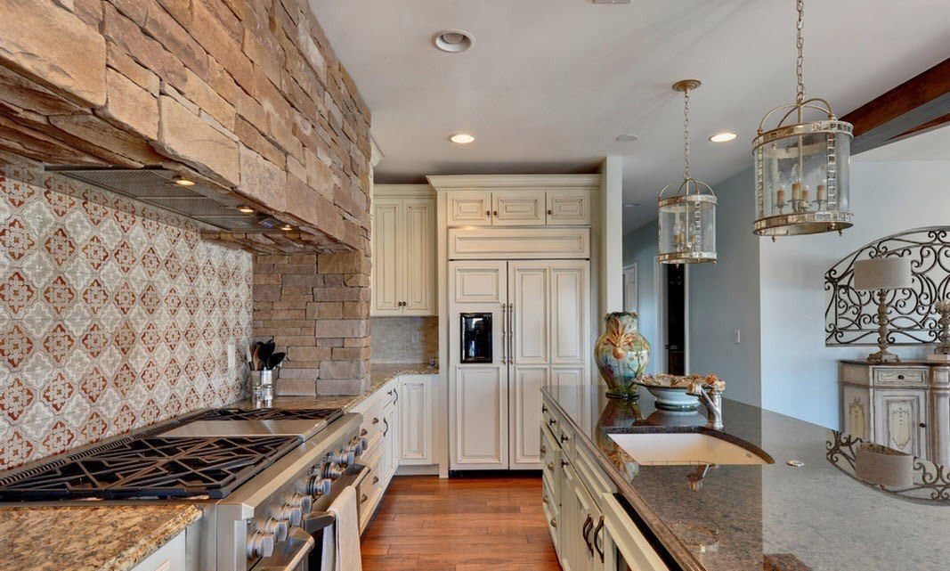 Stone Kitchen Interior Decoration Ideas. Nice galley premise with wooden furniture