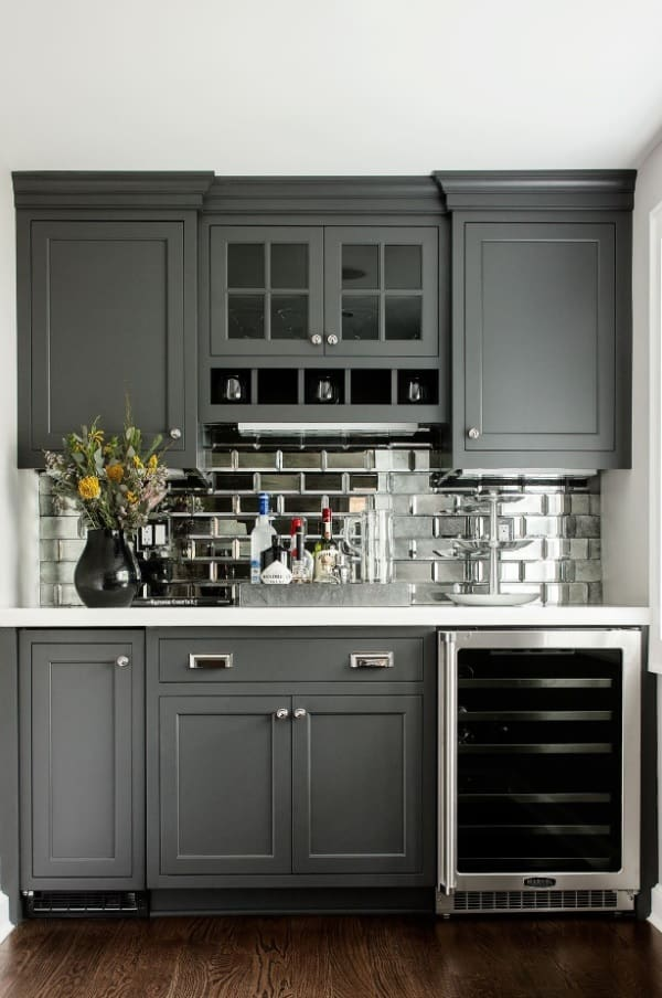 Mirror tile for Classic styled kitchen with gray facades