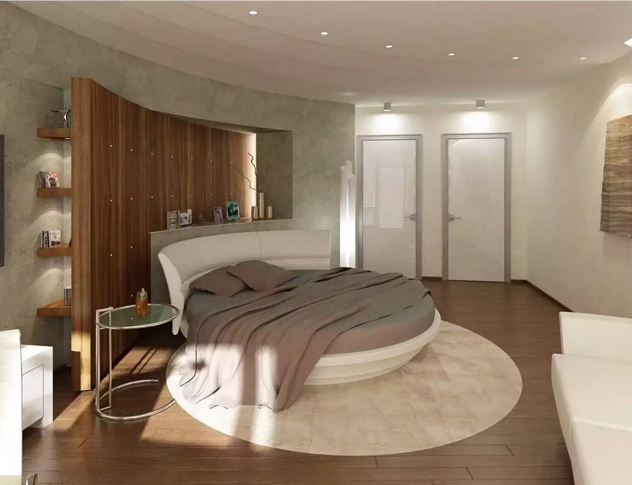 Circle Bed of Unique Bedroom Interior Design. Nice white creamy atmosphere in modern style