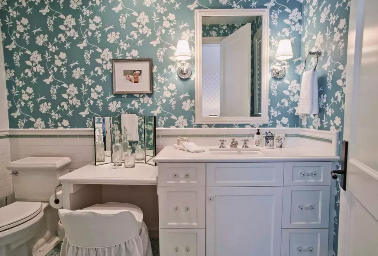Small Bathroom Space Saving Vanity Ideas. Nice Boudoir And Wallpaper With  The Print