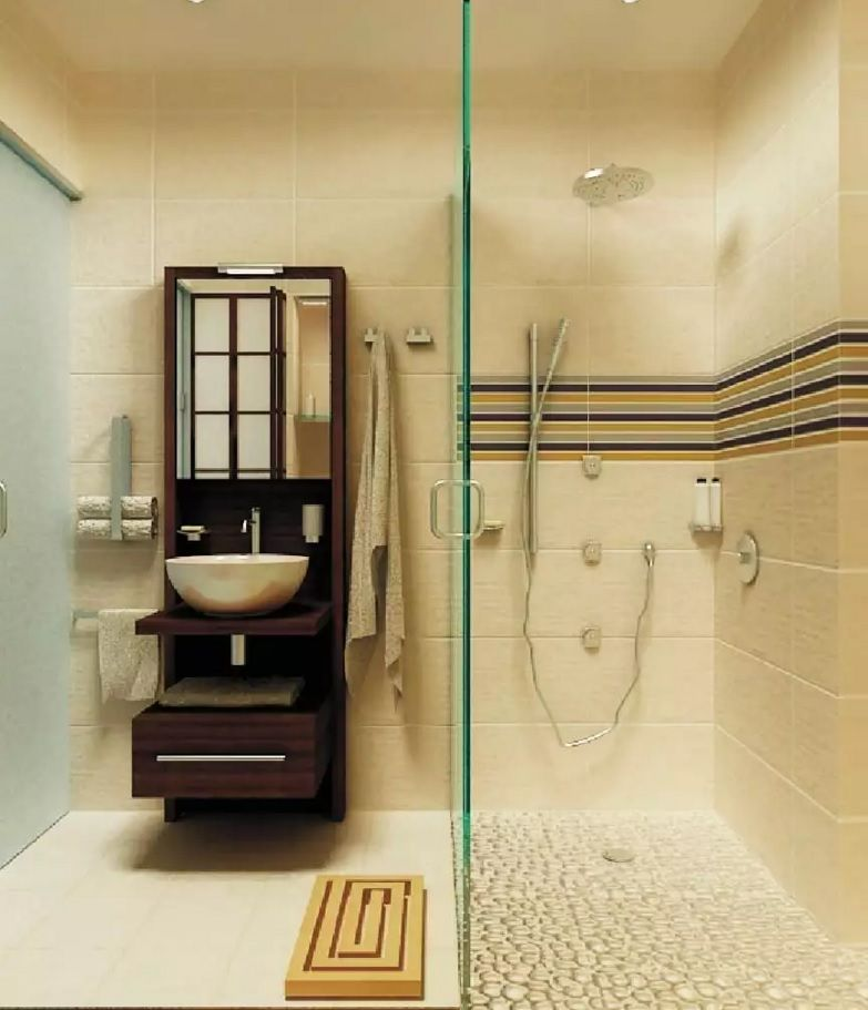 Small Bathroom Space Saving Vanity Ideas. Nice small construction near the glass shower cabin