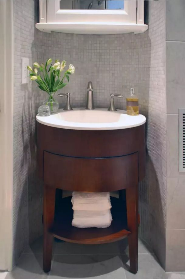 Small Bathroom Space Saving Vanity Ideas. Round Wooden Furniture Set In The  Tiny Room