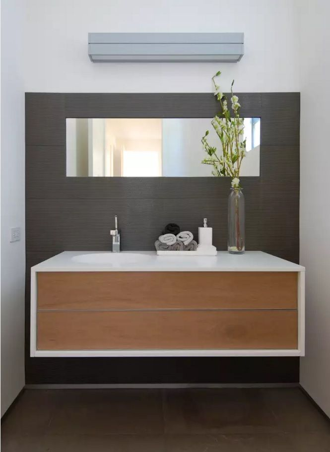 Small Bathroom Space Saving Vanity Ideas. Airy design of the MDF panels