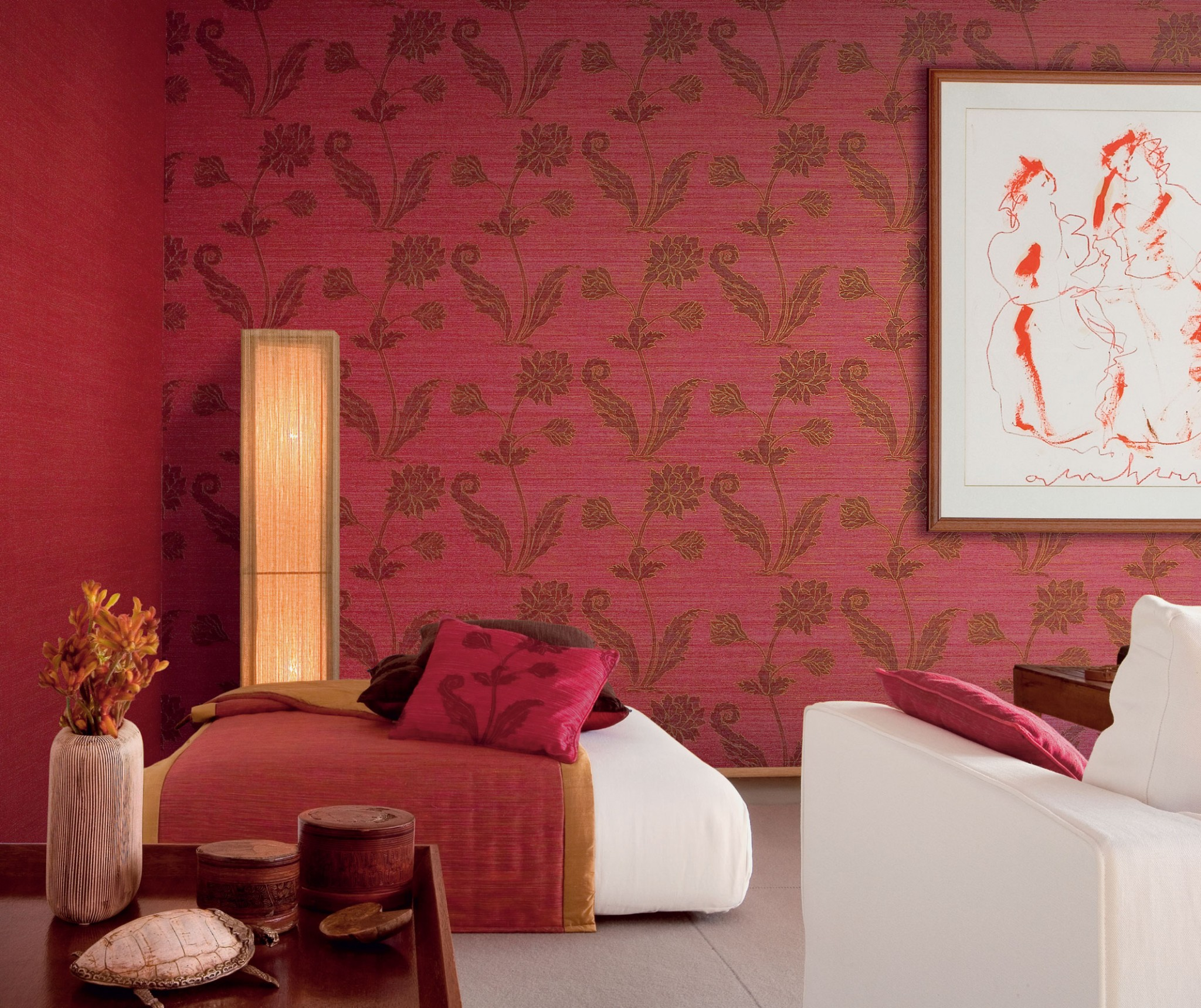 Most Widespread Types of Wallpaper. Vynil wallpaper for red bright interior