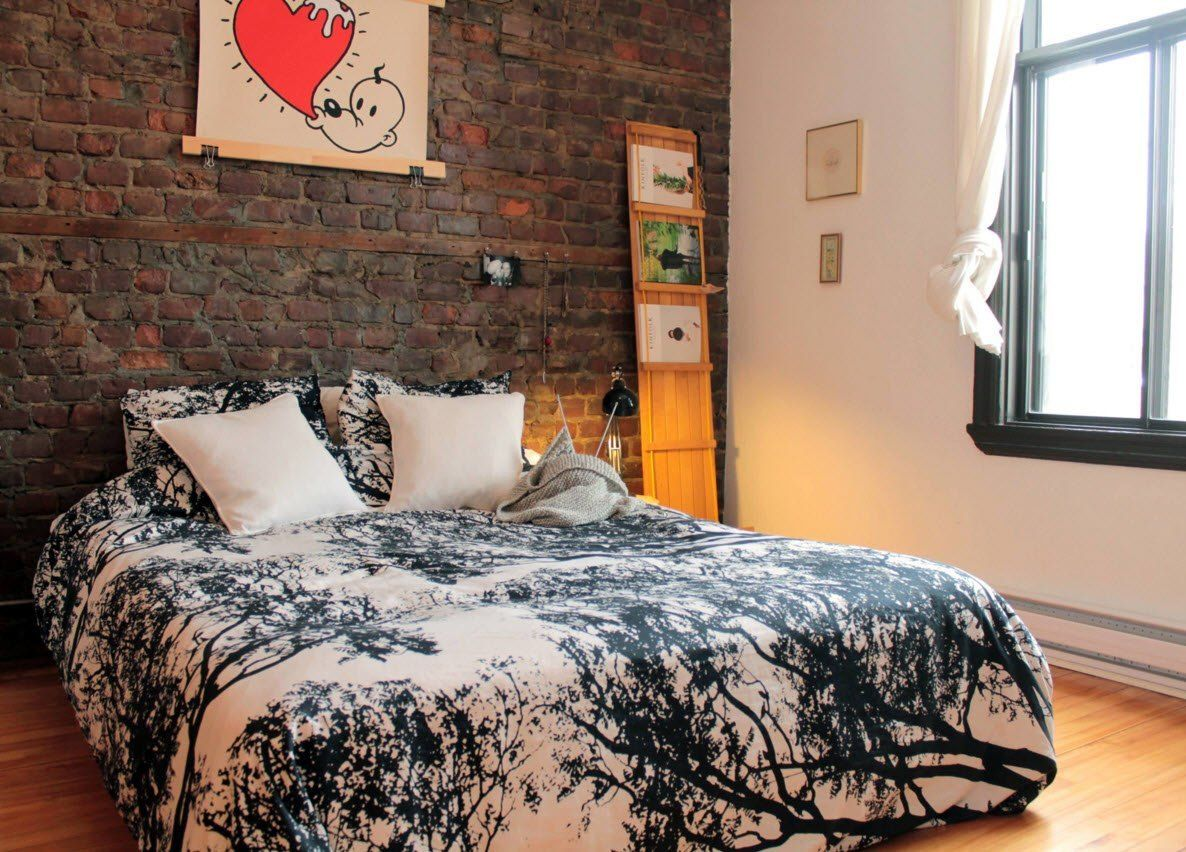 Wall Brickwork Design Ideas for Modern Living Spaces Interior. Picture and the bricks are the main design ideas to liven up the overall atmosphere in the bedroom