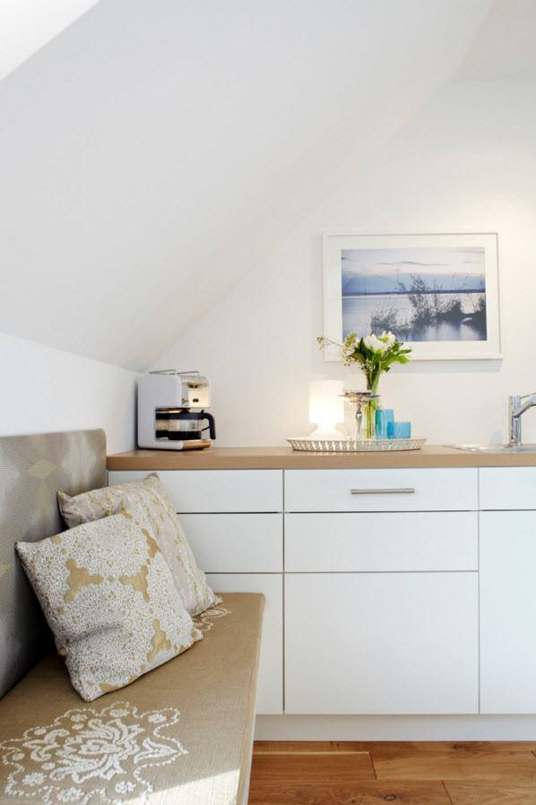 Small Apartment Light Color Design Theme. Small improvised personal nook for reading and working