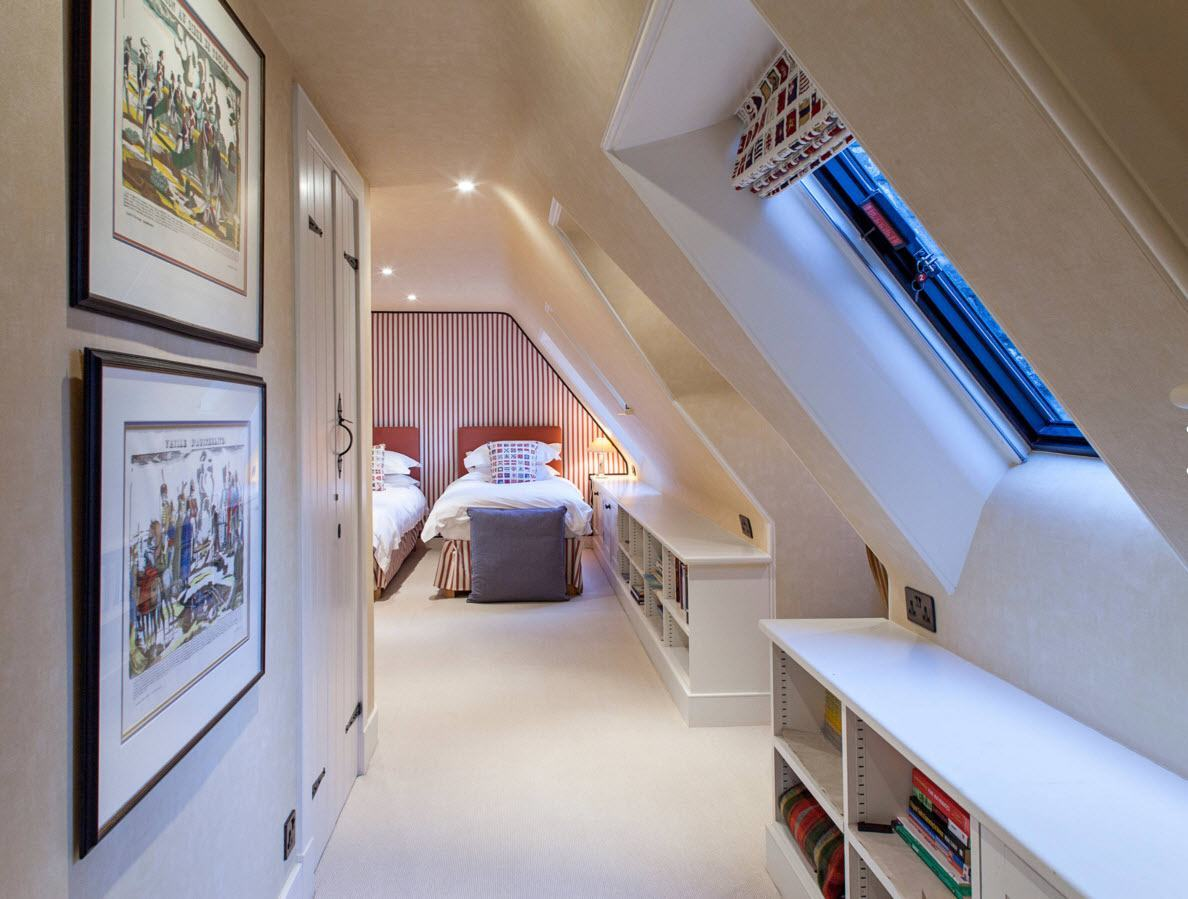 Loft Style Bedroom Design at the Attic. White pastel colors and sloped walls with skylight