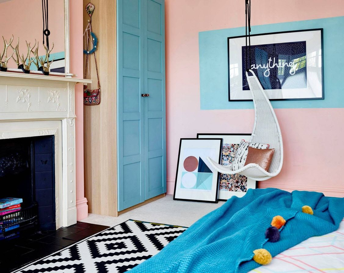 Boy's Room Design Ideas for every Age and Situation.  Pink and turquoise atmosphere for artistic natures