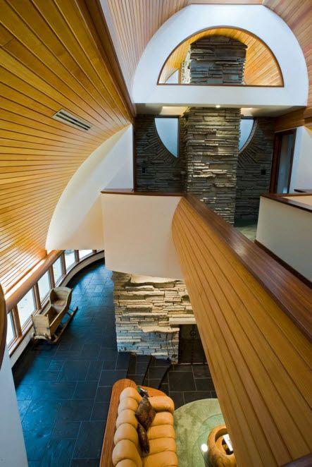 Wooden veneer of the ceiling