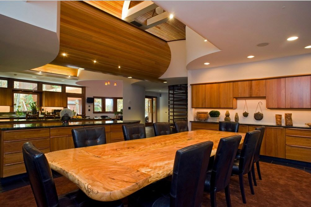 Dining room with gorgeous raw wooden countertop of the table